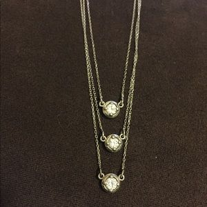 14K White Gold 3 Tiered Diamond Necklace